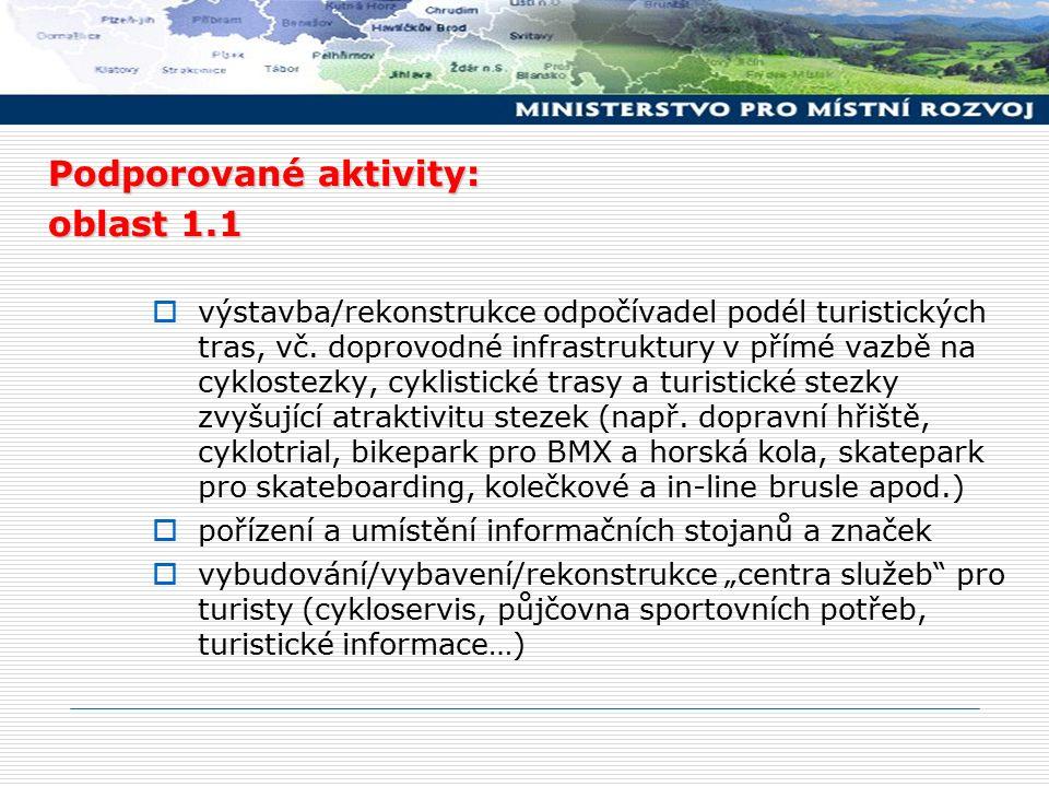 Podporované aktivity: oblast 1.1  výstavba/rekonstrukce odpočívadel podél turistických tras, vč. doprovodné infrastruktury v přímé vazbě na cyklostez