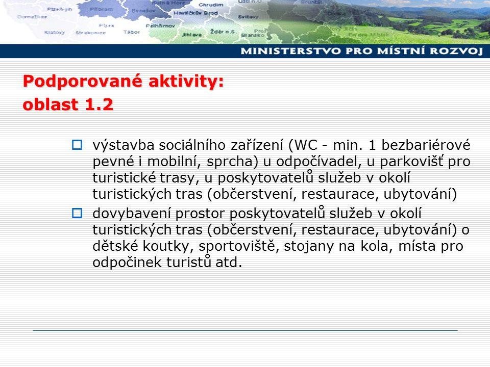 Podporované aktivity: oblast 1.2  výstavba sociálního zařízení (WC - min. 1 bezbariérové pevné i mobilní, sprcha) u odpočívadel, u parkovišť pro turi