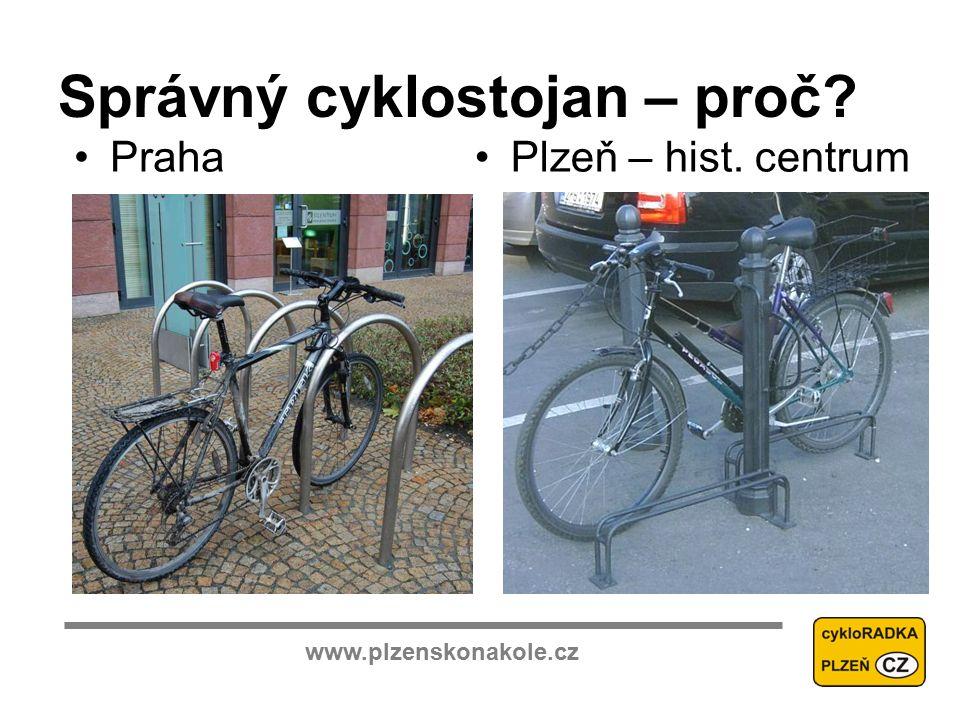 www.plzenskonakole.cz Správný cyklostojan – proč PrahaPlzeň – hist. centrum