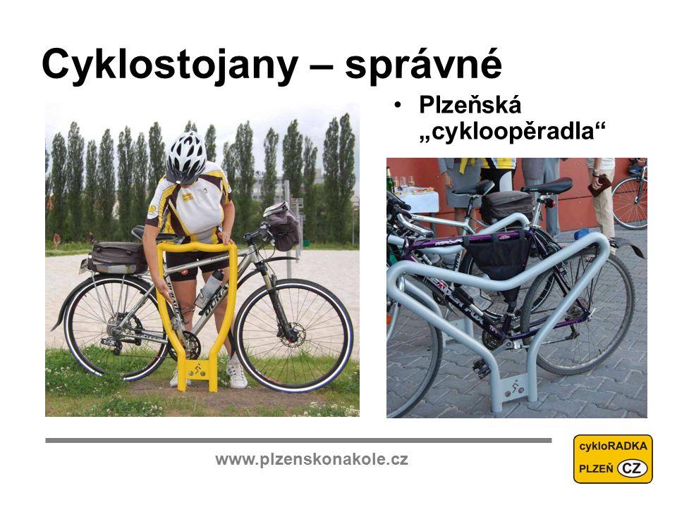 """www.plzenskonakole.cz Cyklostojany – správné Plzeňská """"cykloopěradla"""
