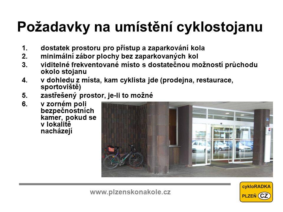 www.plzenskonakole.cz Požadavky na umístění cyklostojanu 1.dostatek prostoru pro přístup a zaparkování kola 2.minimální zábor plochy bez zaparkovaných kol 3.viditelné frekventované místo s dostatečnou možností průchodu okolo stojanu 4.v dohledu z místa, kam cyklista jde (prodejna, restaurace, sportoviště) 5.zastřešený prostor, je-li to možné 6.v zorném poli bezpečnostních kamer, pokud se v lokalitě nacházejí