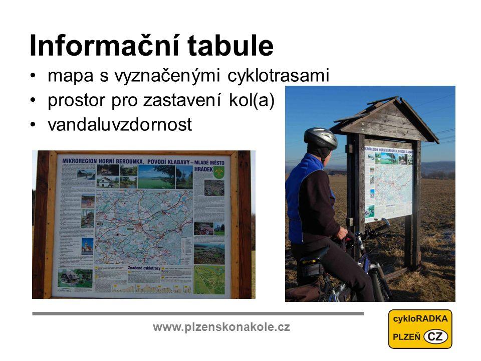 www.plzenskonakole.cz Informační tabule mapa s vyznačenými cyklotrasami prostor pro zastavení kol(a) vandaluvzdornost