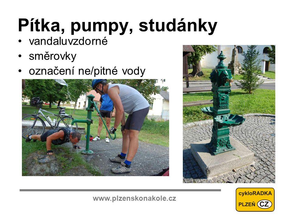 www.plzenskonakole.cz Pítka, pumpy, studánky vandaluvzdorné směrovky označení ne/pitné vody