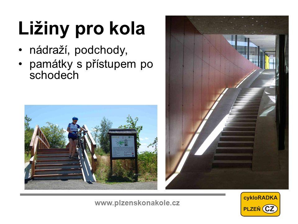 www.plzenskonakole.cz Ližiny pro kola nádraží, podchody, památky s přístupem po schodech