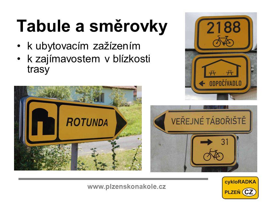 www.plzenskonakole.cz Tabule a směrovky k ubytovacím zažízením k zajímavostem v blízkosti trasy