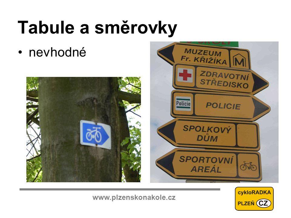 www.plzenskonakole.cz Tabule a směrovky nevhodné