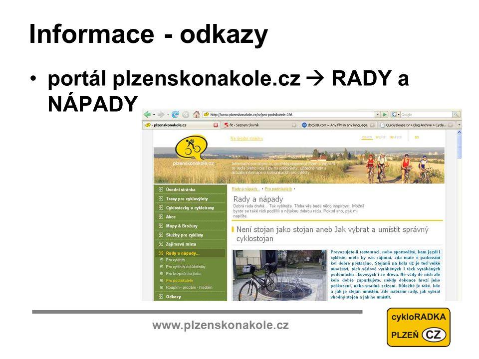 www.plzenskonakole.cz Informace - odkazy portál plzenskonakole.cz  RADY a NÁPADY
