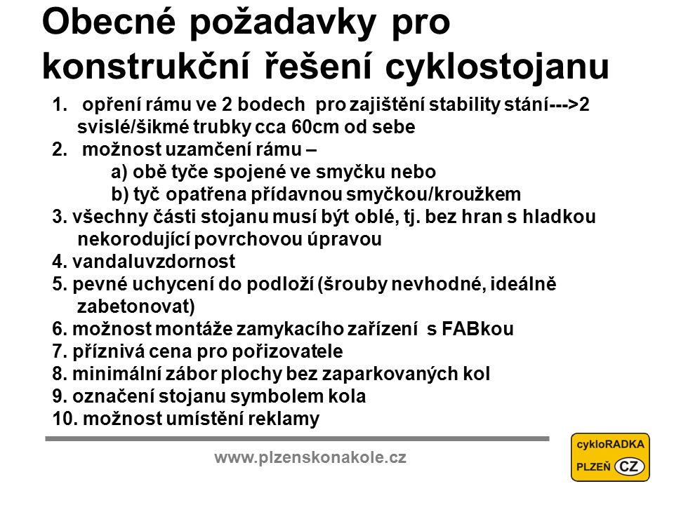www.plzenskonakole.cz Obecné požadavky pro konstrukční řešení cyklostojanu 1.