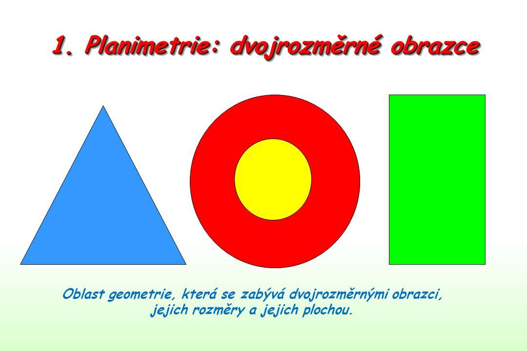 1. Planimetrie: dvojrozměrné obrazce Oblast geometrie, která se zabývá dvojrozměrnými obrazci, jejich rozměry a jejich plochou.
