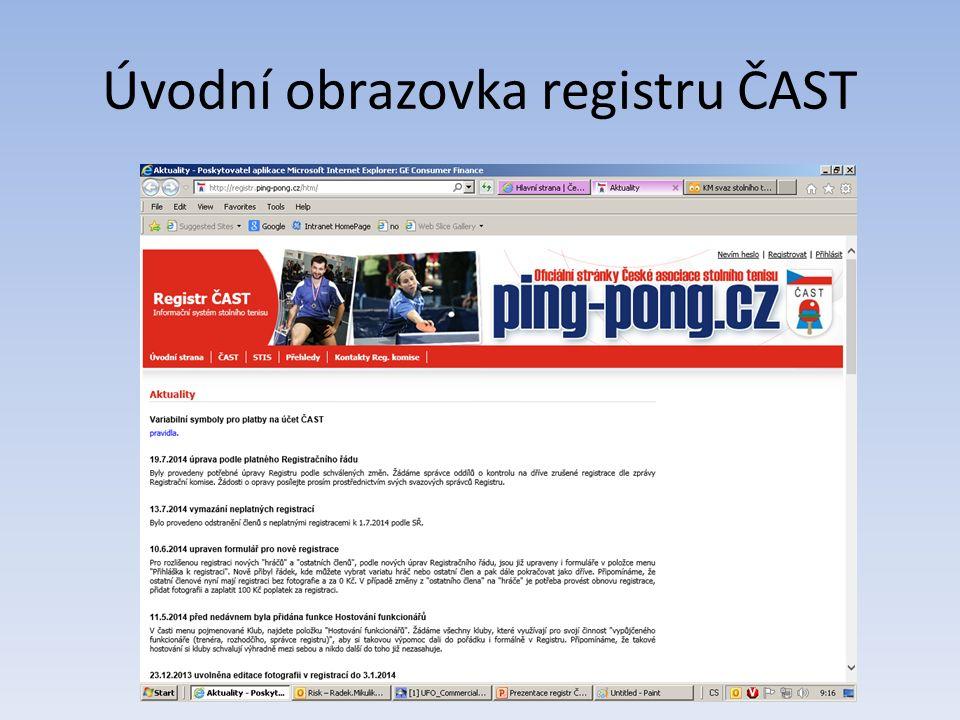 Editace údajů - klub Klub – informace o klubu, IČ, účtů, adresa..