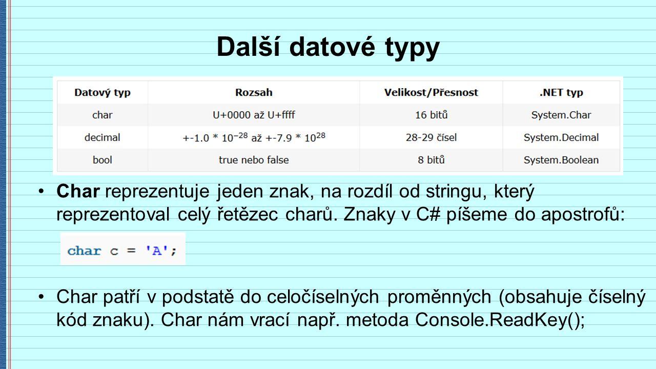 Další datové typy Char reprezentuje jeden znak, na rozdíl od stringu, který reprezentoval celý řetězec charů.