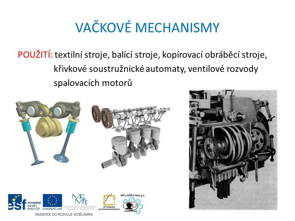 VAČKOVÉ MECHANISMY POUŽITÍ: textilní stroje, balící stroje, kopírovací obráběcí stroje, křivkové soustružnické automaty, ventilové rozvody spalovacích motorů