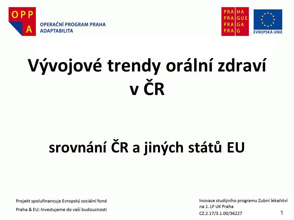 1 Vývojové trendy orální zdraví v ČR srovnání ČR a jiných států EU