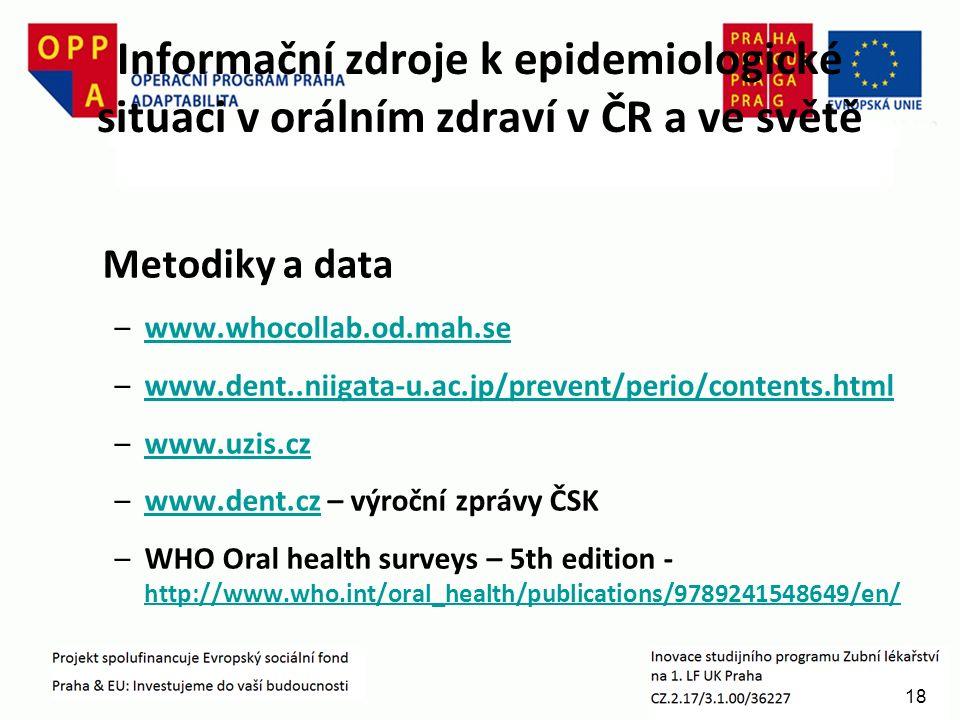 18 Informační zdroje k epidemiologické situaci v orálním zdraví v ČR a ve světě Metodiky a data –www.whocollab.od.mah.sewww.whocollab.od.mah.se –www.dent..niigata-u.ac.jp/prevent/perio/contents.htmlwww.dent..niigata-u.ac.jp/prevent/perio/contents.html –www.uzis.czwww.uzis.cz –www.dent.cz – výroční zprávy ČSKwww.dent.cz –WHO Oral health surveys – 5th edition - http://www.who.int/oral_health/publications/9789241548649/en/ http://www.who.int/oral_health/publications/9789241548649/en/