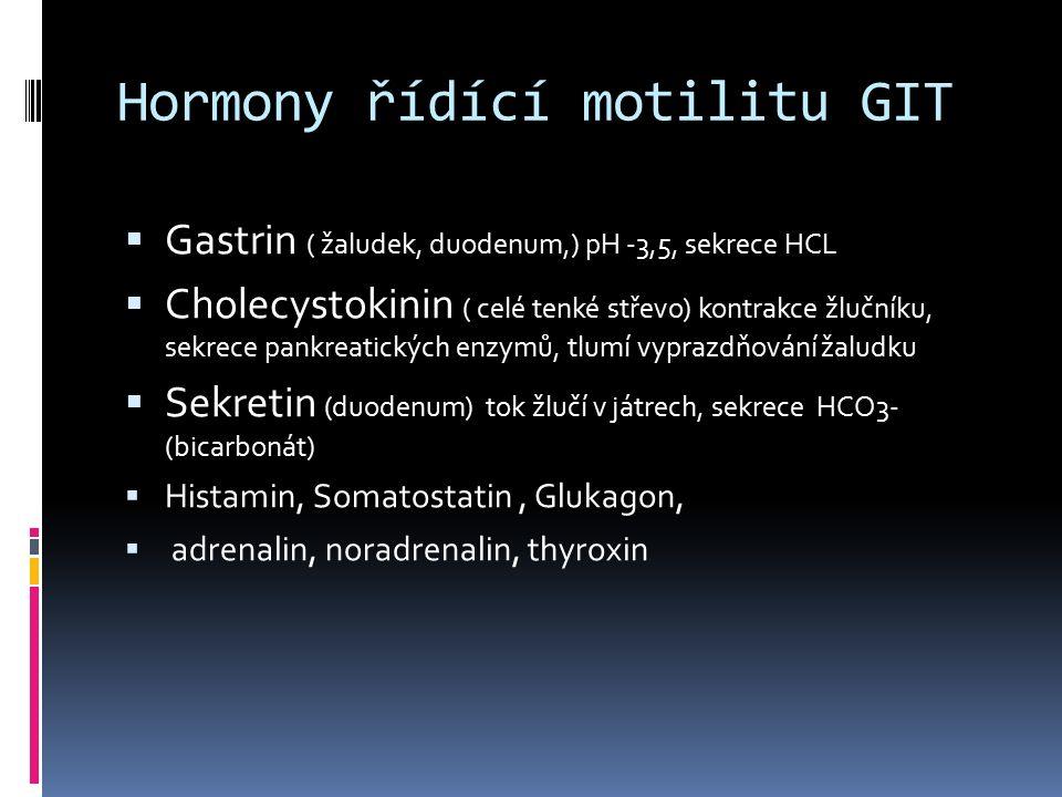 Hormony řídící motilitu GIT  Gastrin ( žaludek, duodenum,) pH -3,5, sekrece HCL  Cholecystokinin ( celé tenké střevo) kontrakce žlučníku, sekrece pa