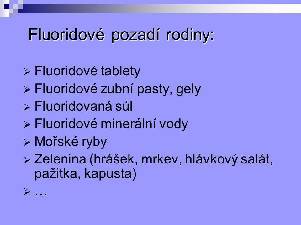 Fluoridové pozadí rodiny:  Fluoridové tablety  Fluoridové zubní pasty, gely  Fluoridovaná sůl  Fluoridové minerální vody  Mořské ryby  Zelenina (hrášek, mrkev, hlávkový salát, pažitka, kapusta)  …