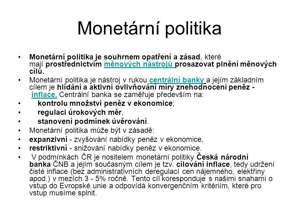 Monetární politika Monetární politika je souhrnem opatření a zásad, které mají prostřednictvím měnových nástrojů prosazovat plnění měnových cílů.