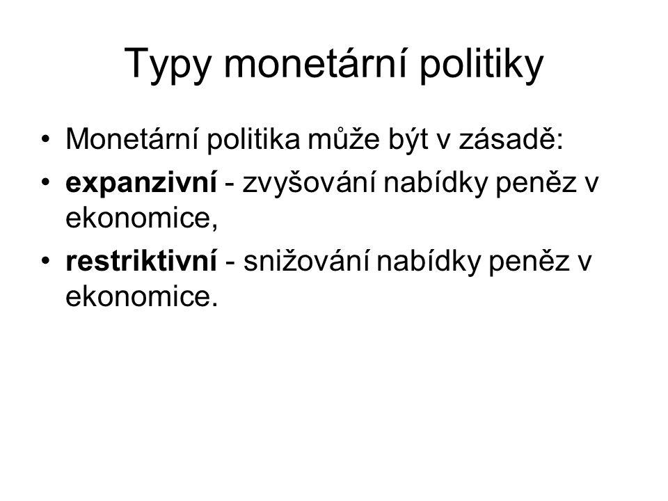 Typy monetární politiky Monetární politika může být v zásadě: expanzivní - zvyšování nabídky peněz v ekonomice, restriktivní - snižování nabídky peněz v ekonomice.