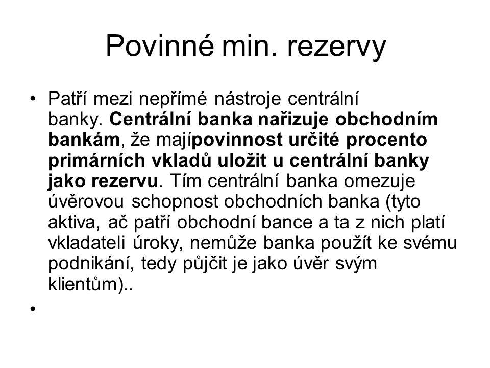 Povinné min. rezervy Patří mezi nepřímé nástroje centrální banky.
