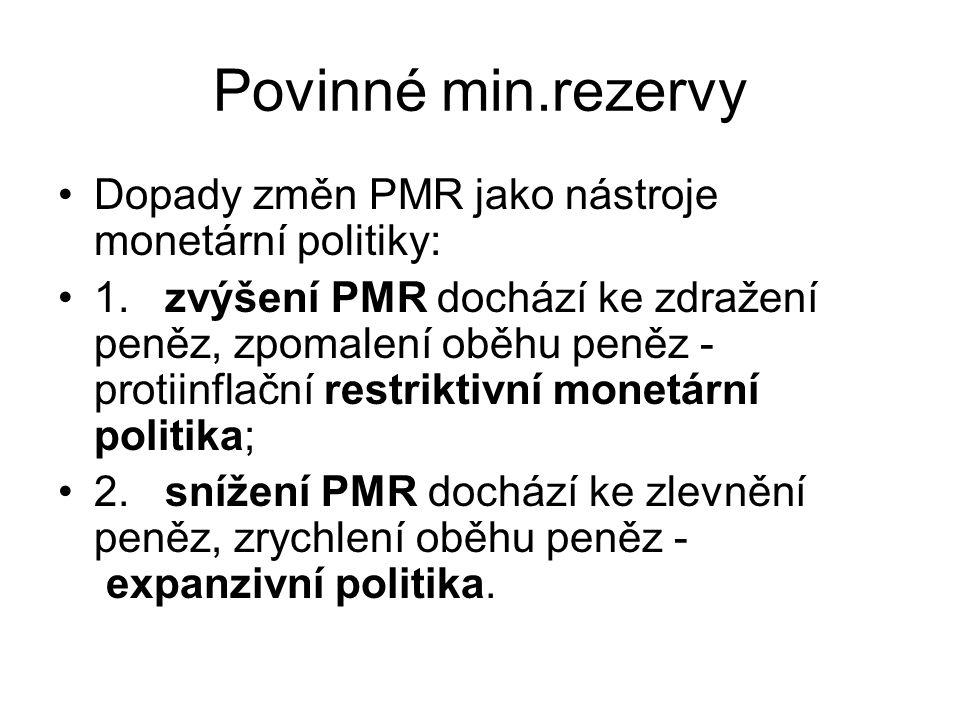Povinné min.rezervy Dopady změn PMR jako nástroje monetární politiky: 1.