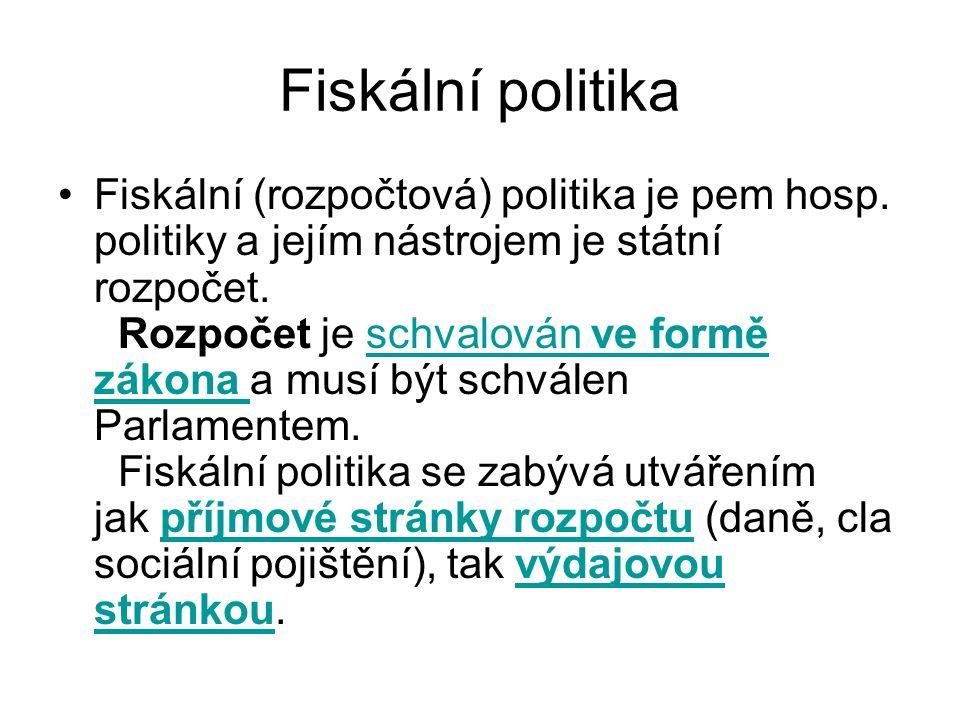 Fiskální politika Fiskální (rozpočtová) politika je pem hosp.