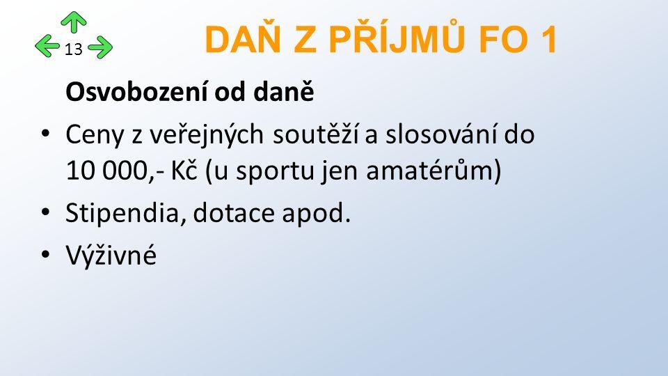 Osvobození od daně Ceny z veřejných soutěží a slosování do 10 000,- Kč (u sportu jen amatérům) Stipendia, dotace apod.