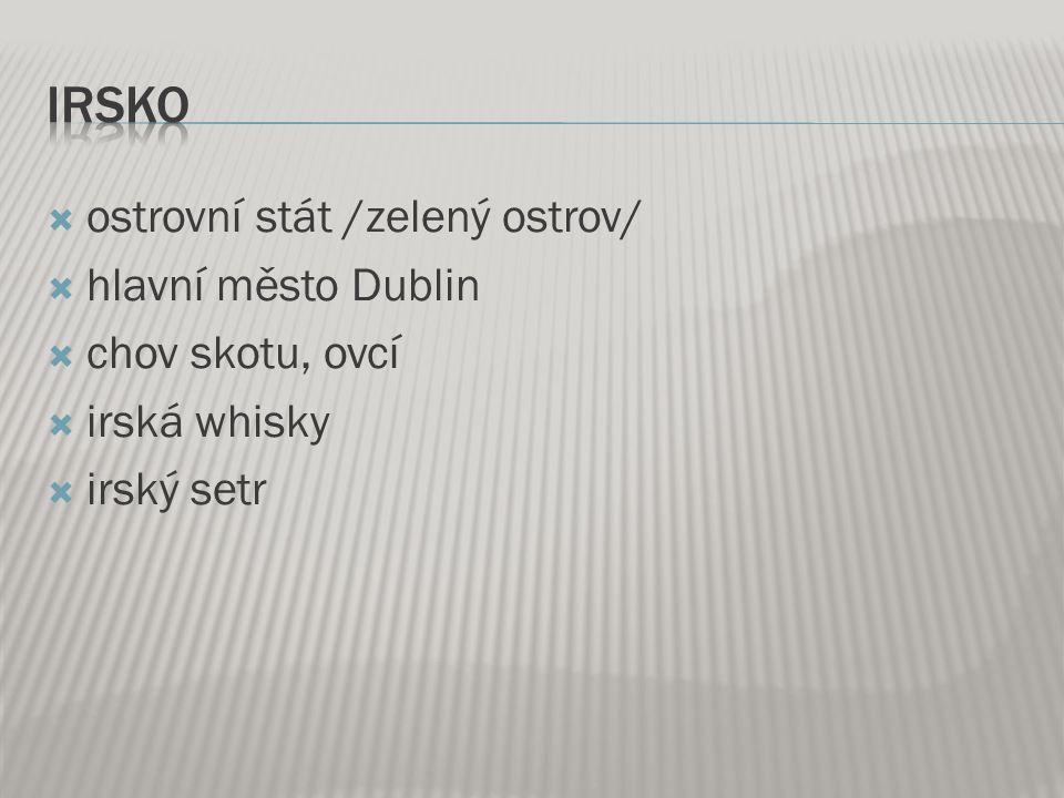  ostrovní stát /zelený ostrov/  hlavní město Dublin  chov skotu, ovcí  irská whisky  irský setr