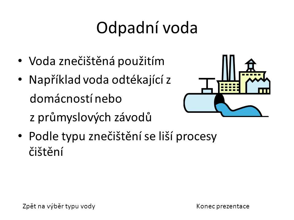 Odpadní voda Voda znečištěná použitím Například voda odtékající z domácností nebo z průmyslových závodů Podle typu znečištění se liší procesy čištění Zpět na výběr typu vodyKonec prezentace