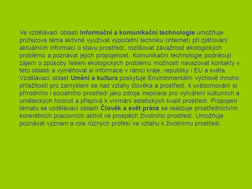Ve vzdělávací oblasti Informační a komunikační technologie umožňuje průřezové téma aktivně využívat výpočetní techniku (internet) při zjišťování aktuálních informací o stavu prostředí, rozlišovat závažnost ekologických problémů a poznávat jejich propojenost.