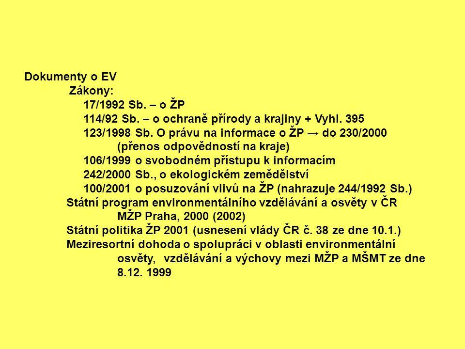 Dokumenty o EV Zákony: 17/1992 Sb. – o ŽP 114/92 Sb.