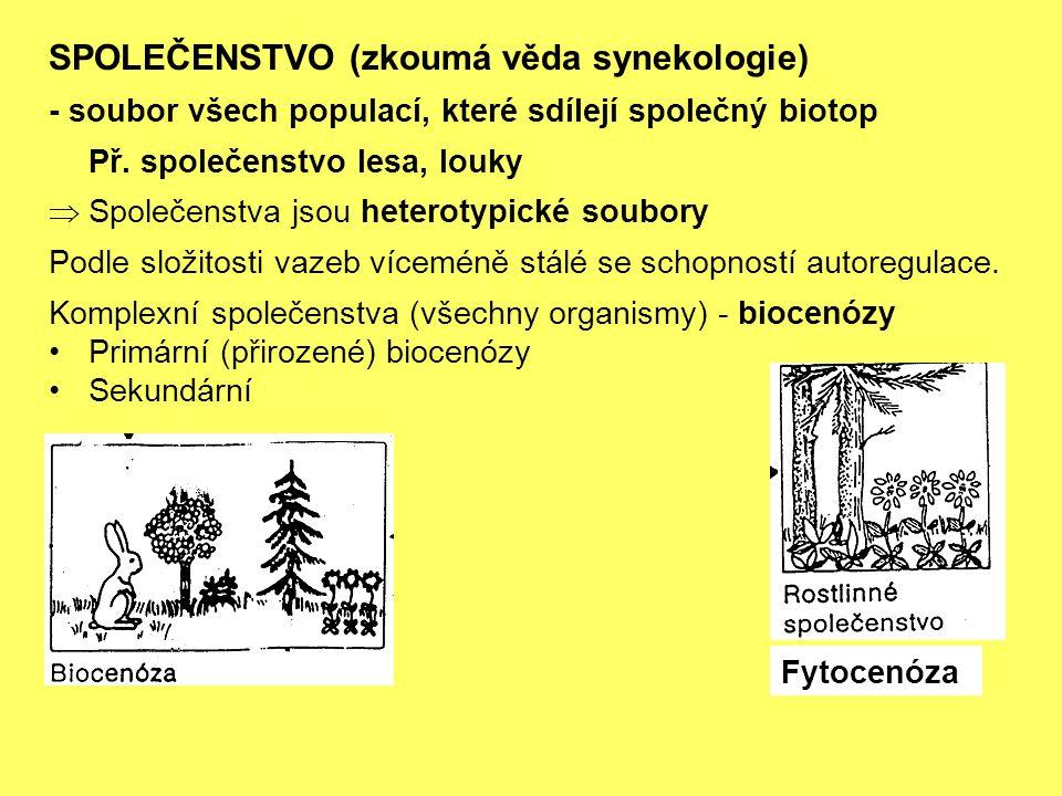 SPOLEČENSTVO (zkoumá věda synekologie) - soubor všech populací, které sdílejí společný biotop Př.