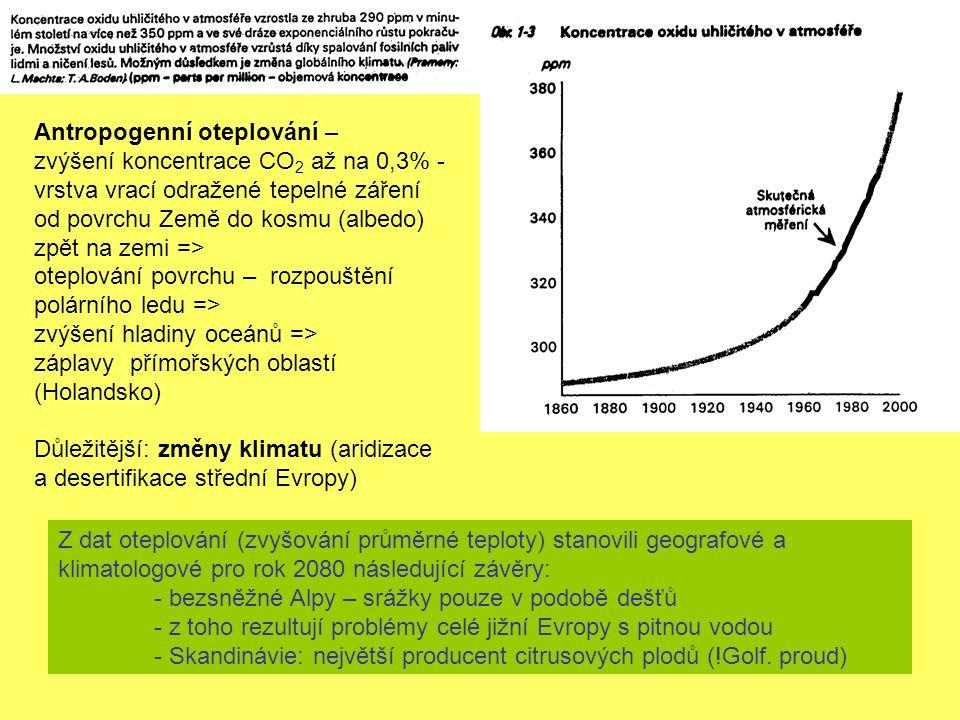 Antropogenní oteplování – zvýšení koncentrace CO 2 až na 0,3% - vrstva vrací odražené tepelné záření od povrchu Země do kosmu (albedo) zpět na zemi => oteplování povrchu – rozpouštění polárního ledu => zvýšení hladiny oceánů => záplavy přímořských oblastí (Holandsko) Důležitější: změny klimatu (aridizace a desertifikace střední Evropy) Z dat oteplování (zvyšování průměrné teploty) stanovili geografové a klimatologové pro rok 2080 následující závěry: - bezsněžné Alpy – srážky pouze v podobě dešťů - z toho rezultují problémy celé jižní Evropy s pitnou vodou - Skandinávie: největší producent citrusových plodů (!Golf.