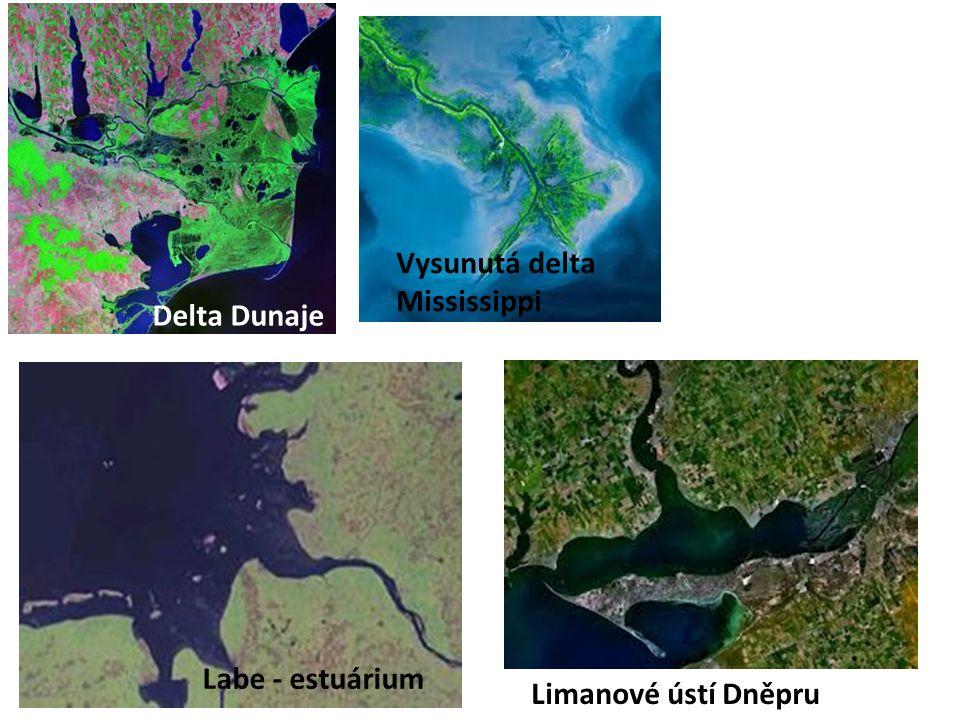 Delta Dunaje Vysunutá delta Mississippi Labe - estuárium Limanové ústí Dněpru