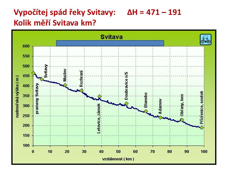Vypočítej spád řeky Svitavy:ΔH = 471 – 191 Kolik měří Svitava km?