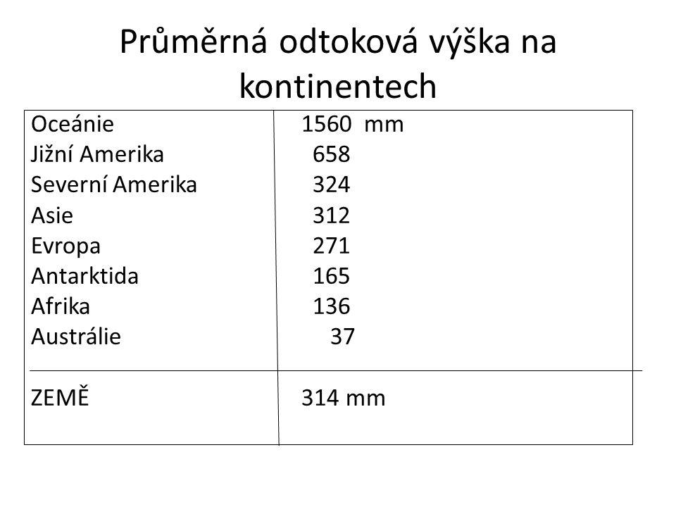Odtoková výška Porovnejte odtokovou výšku jednotlivých kontinentů a zdůvodněte rozdíly.