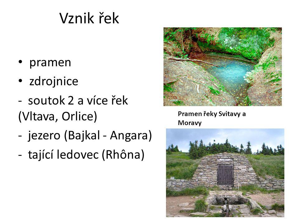 Vznik řek pramen zdrojnice - soutok 2 a více řek (Vltava, Orlice) - jezero (Bajkal - Angara) - tající ledovec (Rhôna) Pramen řeky Svitavy a Moravy