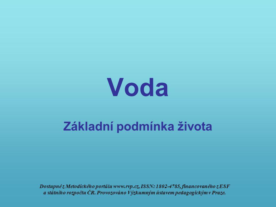 Voda Základní podmínka života Dostupné z Metodického portálu www.rvp.cz, ISSN: 1802-4785, financovaného z ESF a státního rozpočtu ČR.