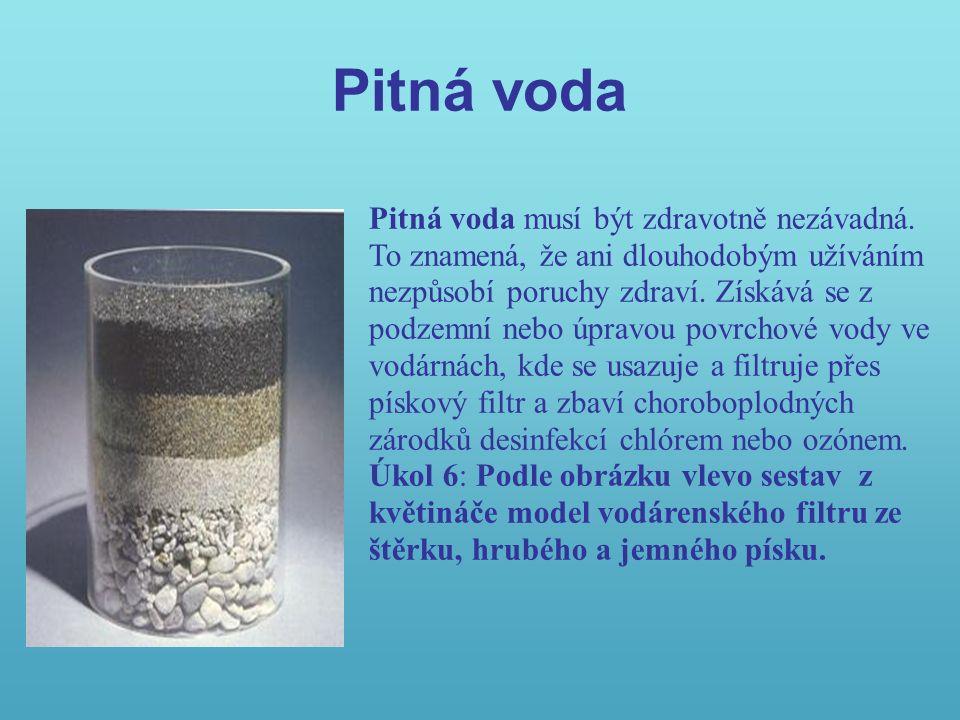 Pitná voda Pitná voda musí být zdravotně nezávadná.