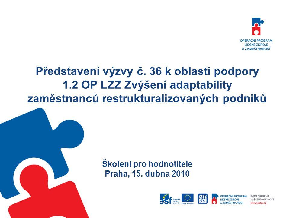Představení výzvy č. 36 k oblasti podpory 1.2 OP LZZ Zvýšení adaptability zaměstnanců restrukturalizovaných podniků Školení pro hodnotitele Praha, 15.