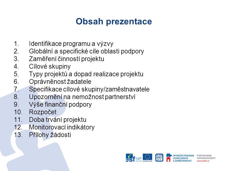 Obsah prezentace 1.Identifikace programu a výzvy 2.Globální a specifické cíle oblasti podpory 3.Zaměření činností projektu 4.Cílové skupiny 5.Typy pro