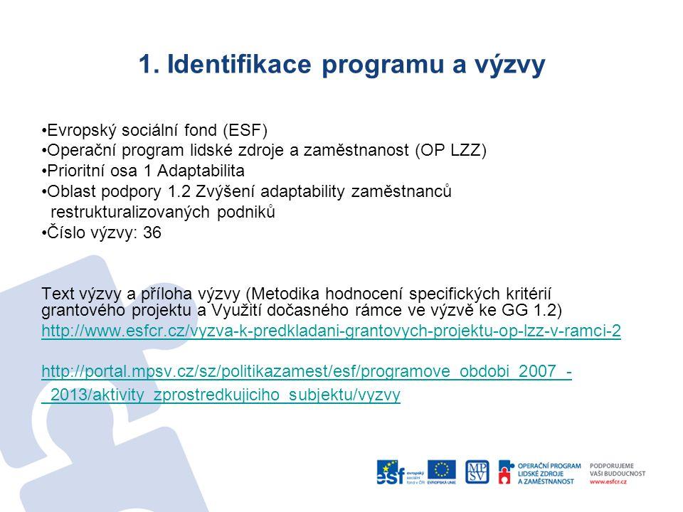 1. Identifikace programu a výzvy Evropský sociální fond (ESF) Operační program lidské zdroje a zaměstnanost (OP LZZ) Prioritní osa 1 Adaptabilita Obla