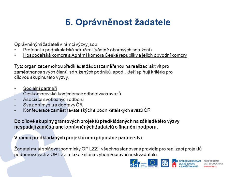 6. Oprávněnost žadatele Oprávněnými žadateli v rámci výzvy jsou: Profesní a podnikatelská sdružení (včetně oborových sdružení) Hospodářská komora a Ag