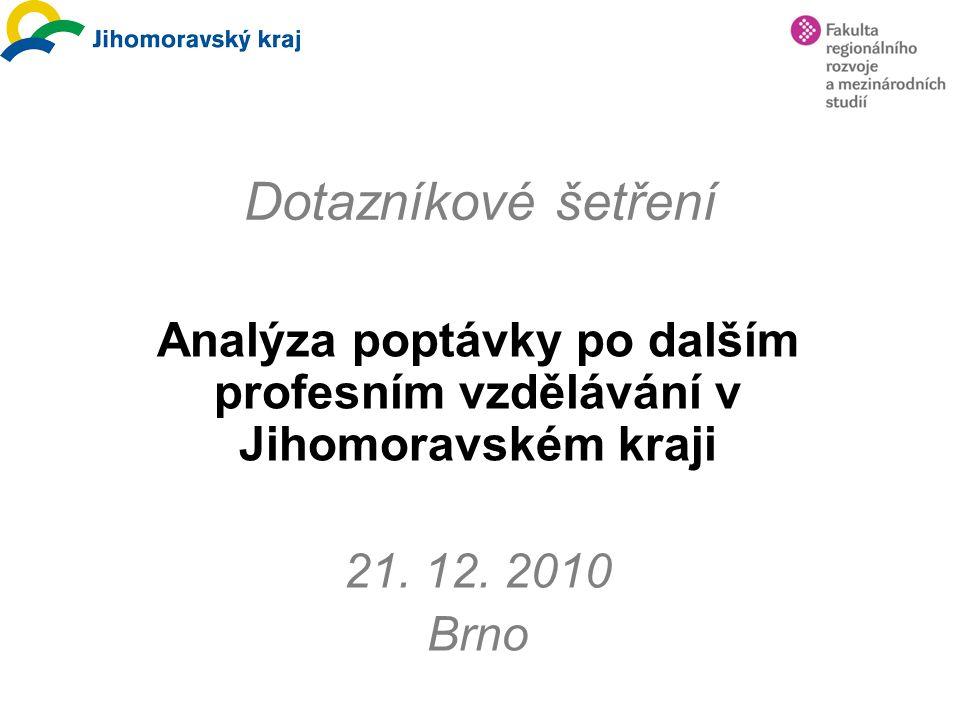 Dotazníkové šetření Analýza poptávky po dalším profesním vzdělávání v Jihomoravském kraji 21. 12. 2010 Brno