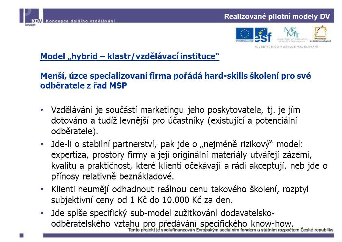 """Realizované pilotní modely DV Model """"hybrid – klastr/vzdělávací instituce Menší, úzce specializovaní firma pořádá hard-skills školení pro své odběratele z řad MSP Vzdělávání je součástí marketingu jeho poskytovatele, tj."""