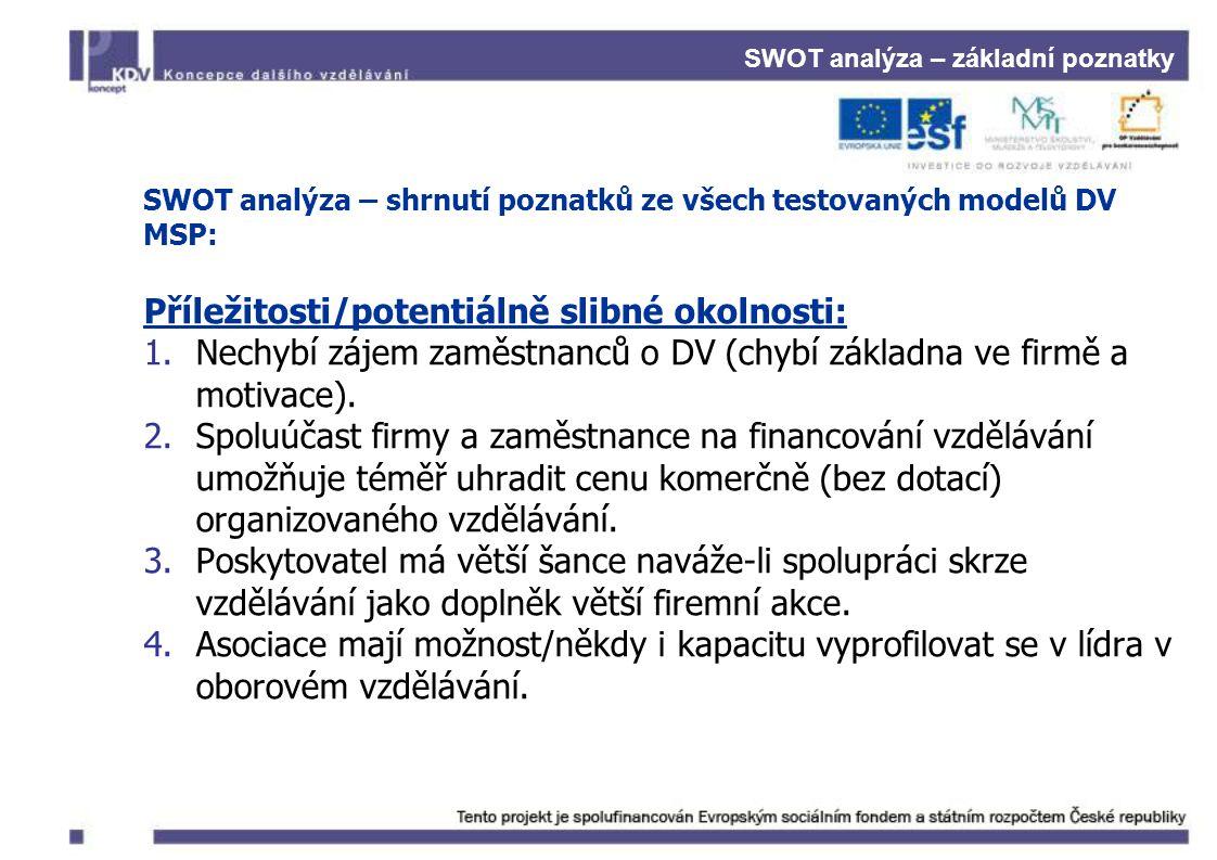SWOT analýza – základní poznatky SWOT analýza – shrnutí poznatků ze všech testovaných modelů DV MSP: Příležitosti/potentiálně slibné okolnosti: 1.Nechybí zájem zaměstnanců o DV (chybí základna ve firmě a motivace).