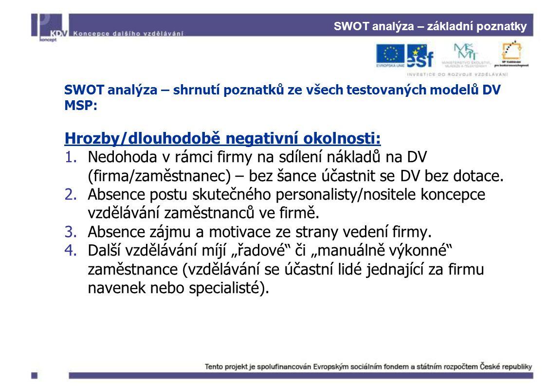 SWOT analýza – základní poznatky SWOT analýza – shrnutí poznatků ze všech testovaných modelů DV MSP: Hrozby/dlouhodobě negativní okolnosti: 1.Nedohoda v rámci firmy na sdílení nákladů na DV (firma/zaměstnanec) – bez šance účastnit se DV bez dotace.
