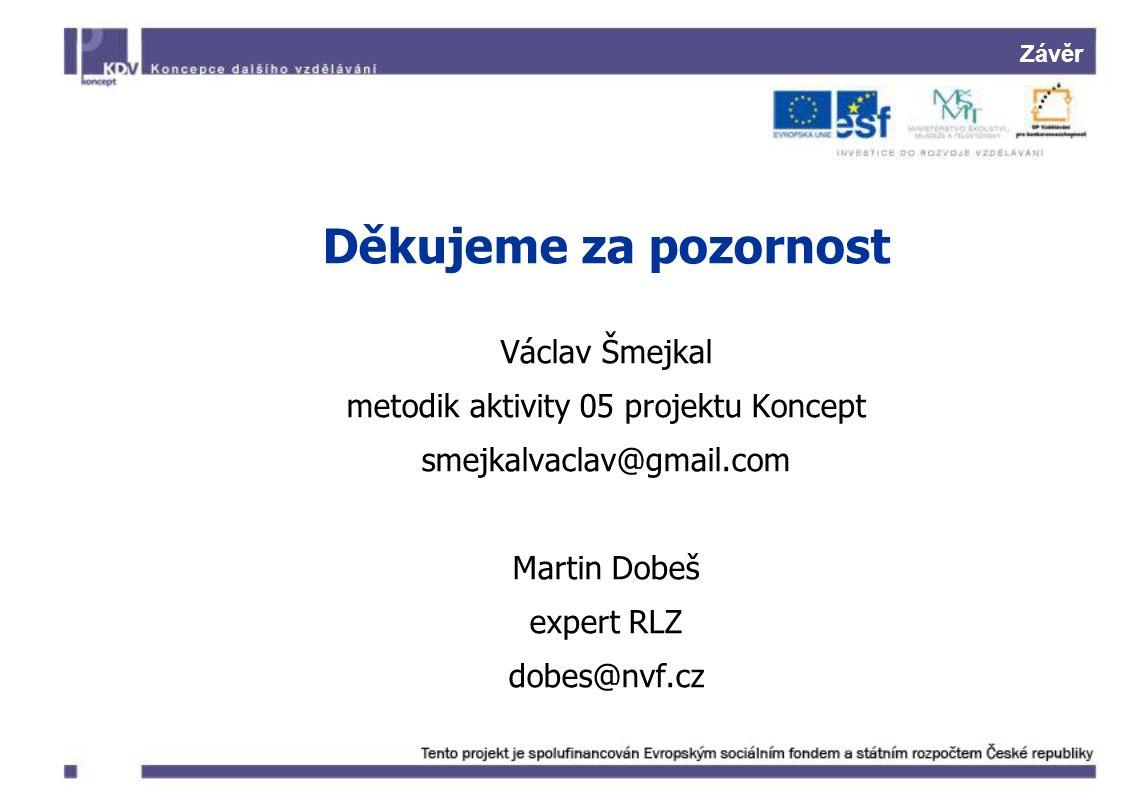 Závěr Děkujeme za pozornost Václav Šmejkal metodik aktivity 05 projektu Koncept smejkalvaclav@gmail.com Martin Dobeš expert RLZ dobes@nvf.cz