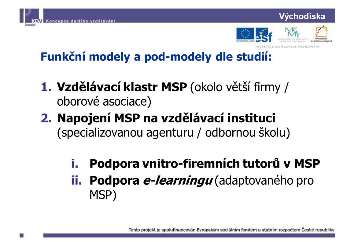 Východiska Funkční modely a pod-modely dle studií: 1.Vzdělávací klastr MSP (okolo větší firmy / oborové asociace) 2.Napojení MSP na vzdělávací instituci (specializovanou agenturu / odbornou školu) i.Podpora vnitro-firemních tutorů v MSP ii.Podpora e-learningu (adaptovaného pro MSP)