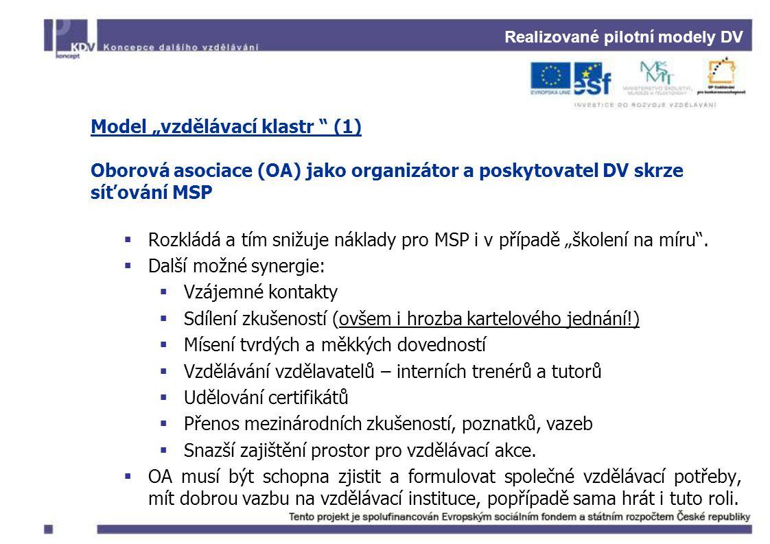 """Realizované pilotní modely DV Model """"vzdělávací klastr (1) Oborová asociace (OA) jako organizátor a poskytovatel DV skrze síťování MSP  Rozkládá a tím snižuje náklady pro MSP i v případě """"školení na míru ."""