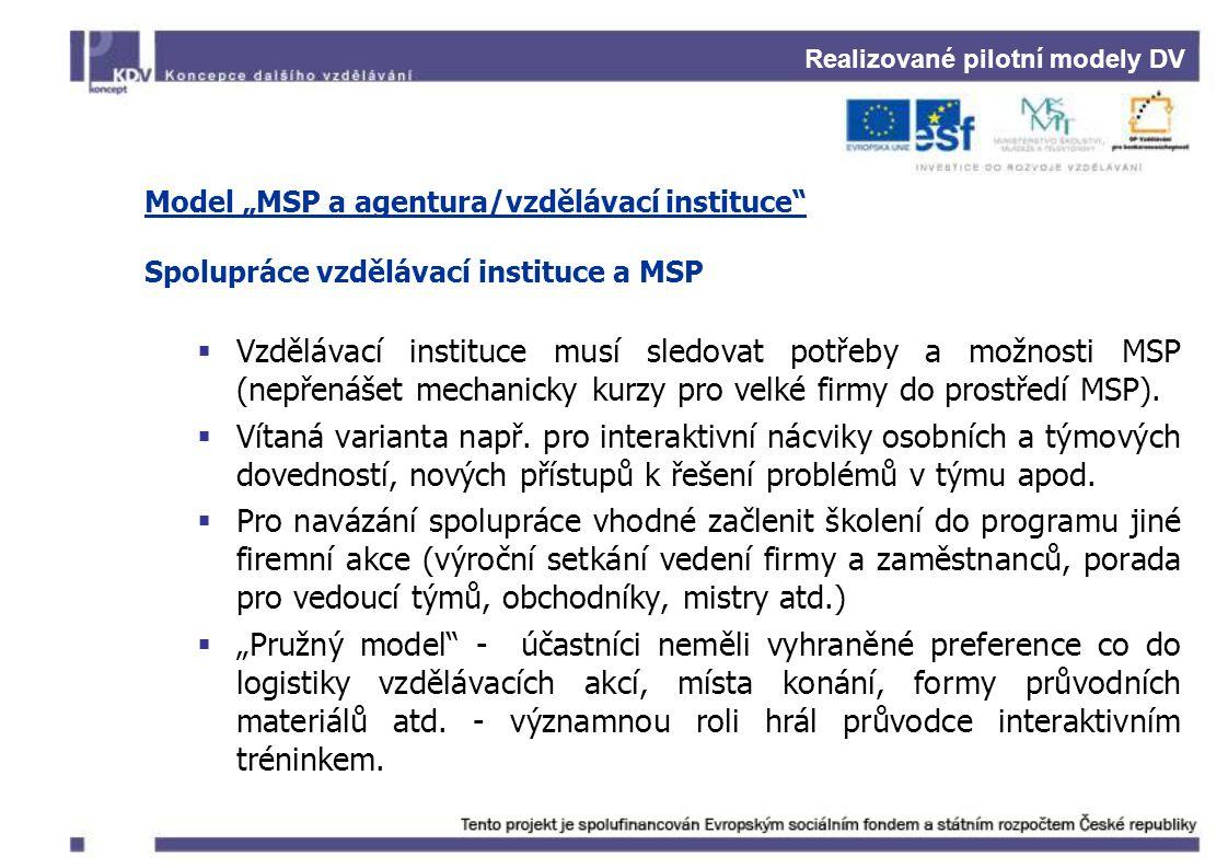 """Realizované pilotní modely DV Model """"MSP a agentura/vzdělávací instituce Spolupráce vzdělávací instituce a MSP  Vzdělávací instituce musí sledovat potřeby a možnosti MSP (nepřenášet mechanicky kurzy pro velké firmy do prostředí MSP)."""